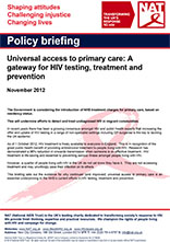 Universal Access to Primary Care: A gateway for HIV testing, treatment and prevention