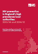 HIV prevention in England's high prevalence local authorities: 2015 edition