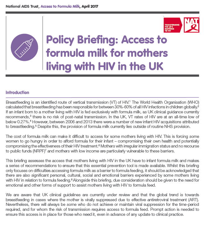 Policy Briefing: Access to formula milk for mothers living with HIV in the UK