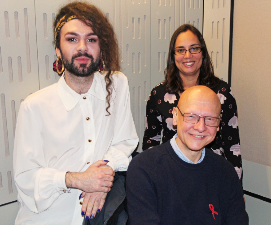 Recording day at the BBC: NAT senior communications officer Charlie Alderwick and fundraising manager Sharon Coleman with Jonathan Grimshaw
