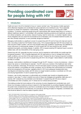 Policy briefing: Providing coordinated care for people living with HIV